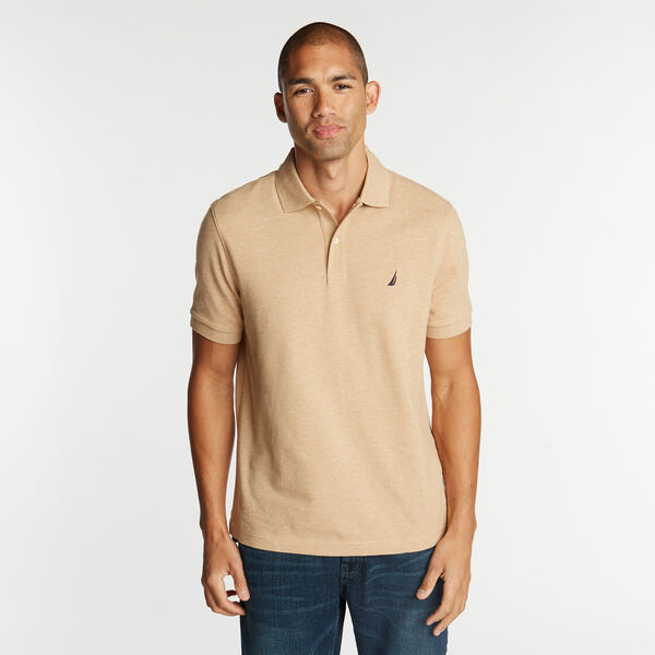 Classic Fit Mesh Polo - Camel Heather