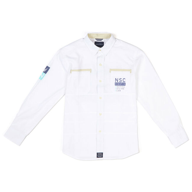 Little Boys' Signature N '83 Patch Button-Down Shirt,White,large