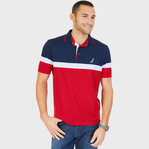 Big & Tall Signature Colorblock Short Sleeve Polo - Nautica Red