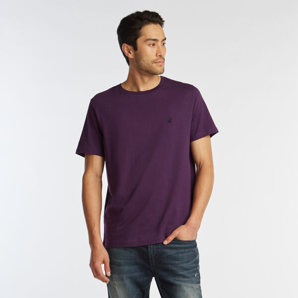 SOLID SHORT SLEEVE CREWNECK T-SHIRT - Blackberry