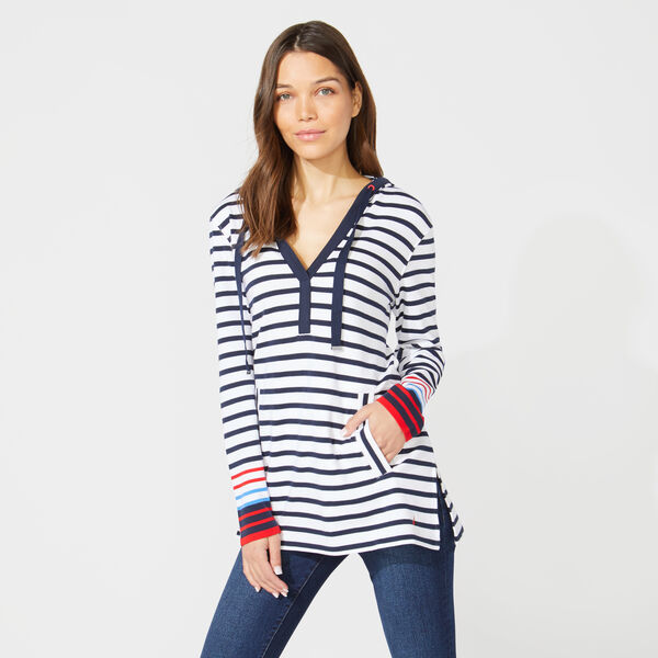 STRIPED SPLIT NECK PULLOVER HOODIE - Stellar Blue Heather
