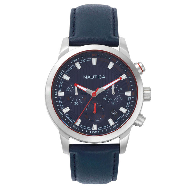 Taylor Leather Chronograph Watch - Navy,Pure Dark Pacific Wash,large