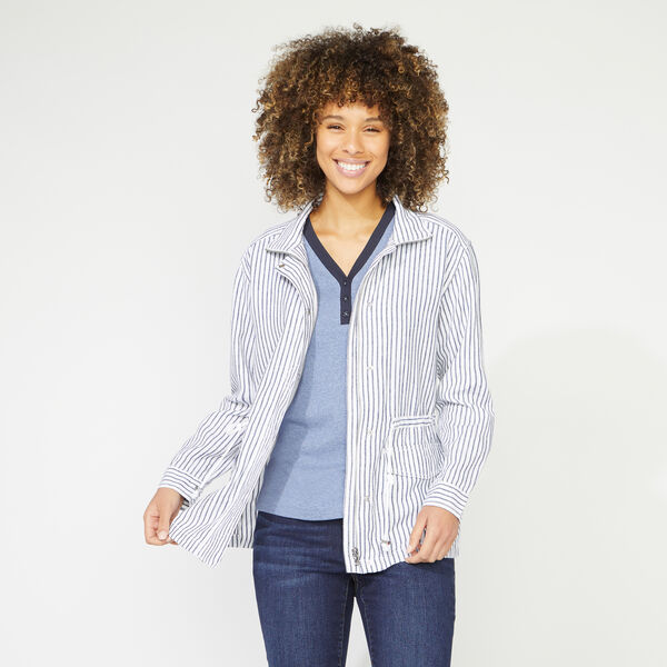 STRIPED LINEN BLEND JACKET - Bright White