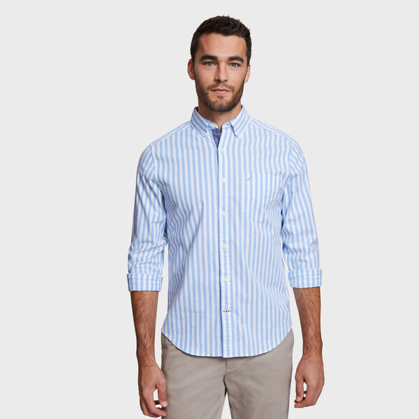 Classic Fit Oxford Shirt in Stripe - Blue Grass