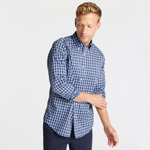 Classic Fit Non-Iron Performance Twill Shirt in Blue Plaid - Admiral Blue