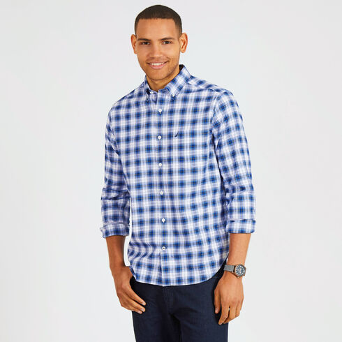 Long Sleeve Classic Fit Plaid Wrinkle-Resistant Shirt - Bright White
