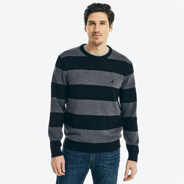 SUSTAINABLY CRAFTED STRIPED SWEATER - True Black