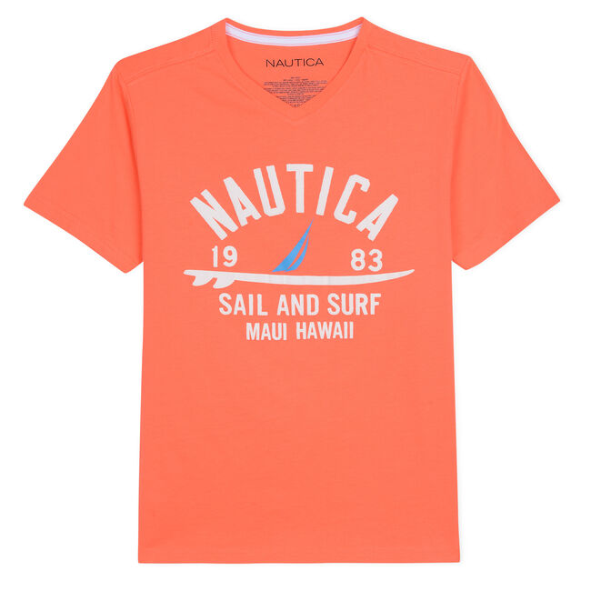 BOYS' SEAN V-NECK T-SHIRT IN SURF & SAIL GRAPHIC,Faded Orange,large