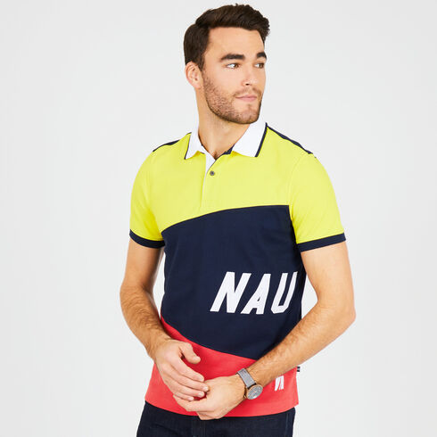 Big & Tall Sail Flag Colorblock Classic Fit Polo - Navy