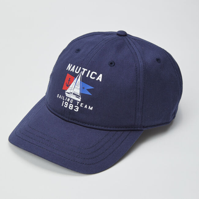 ANCHOR AND FLAG LOGO EMBROIDERED CAP,Navy,large
