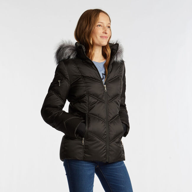 QUILTED PUFFER COAT,True Black,large