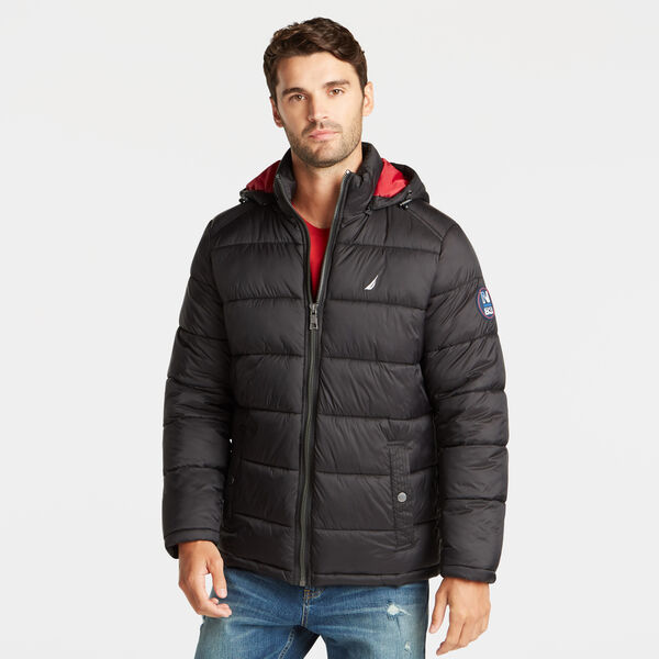 BIG & TALL PUFFER JACKET WITH REMOVABLE HOOD - Black