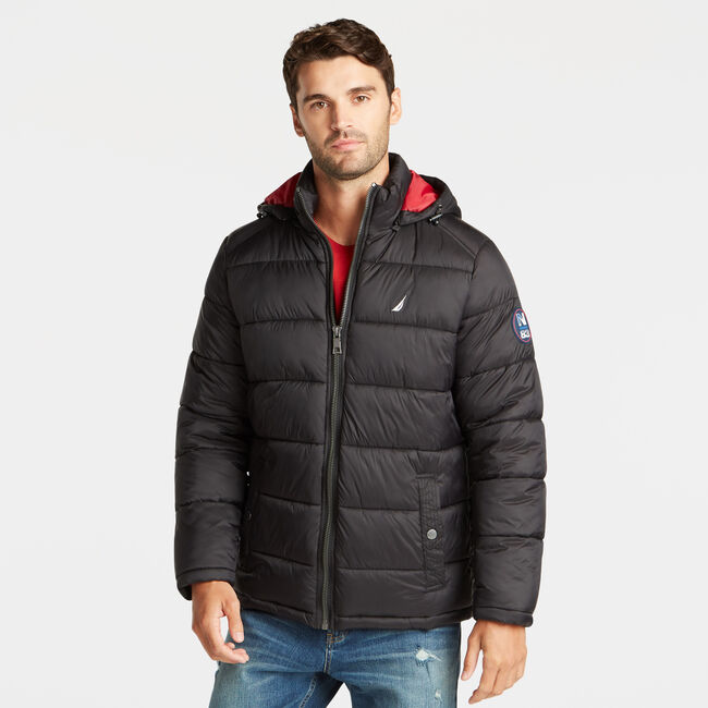 BIG & TALL PUFFER JACKET WITH REMOVABLE HOOD,Black,large