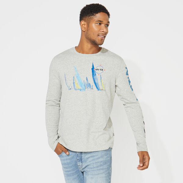 LONG SLEEVE SAILBOAT PRINT T-SHIRT - Grey Heather