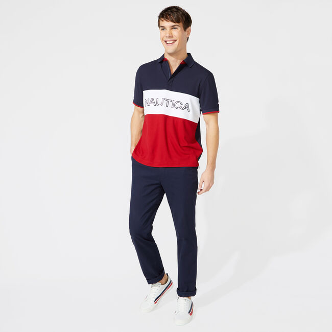 CLASSIC FIT COLORBLOCK LOGO POLO,Navy,large