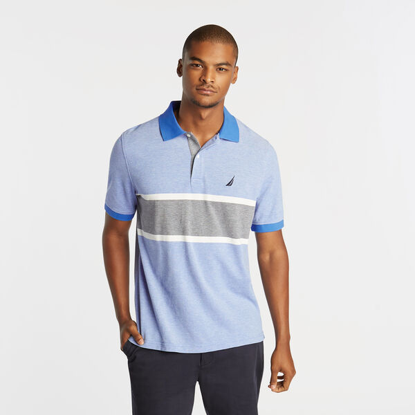 CLASSIC FIT OXFORD MESH POLO WITH CHEST STRIPE - Reef Blue