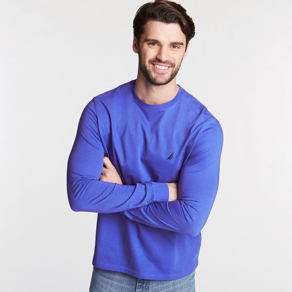 CREWNECK LONG SLEEVE TEE - Cobalt Wave