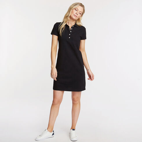 Piqué Polo Shirtdress - True Black