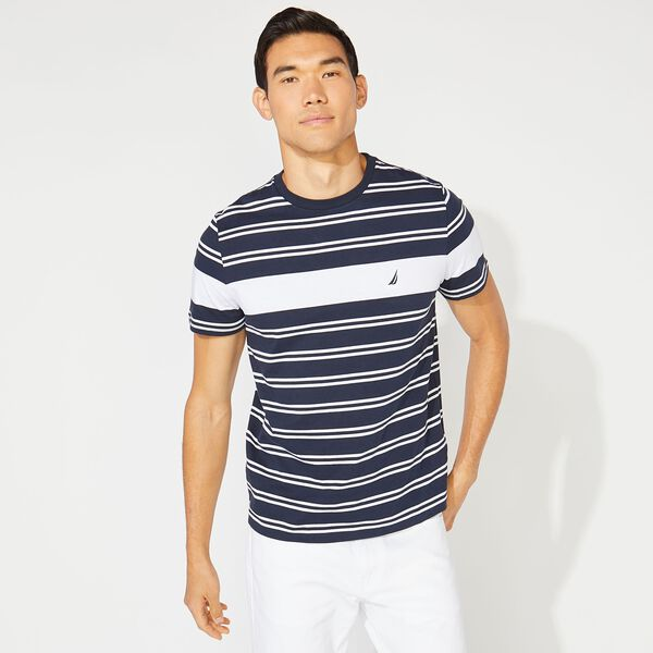 PREMIUM COTTON BOLD STRIPED TEE - Navy