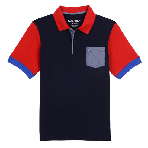 Boys' Harry Pocket Back Graphic Heritage Polo (8-20) - Sport Navy