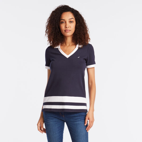 BLOCK STRIPE SPLIT NECK POLO SHIRT - Stellar Blue Heather