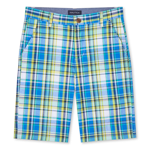 BOYS' JORDYN PLAID SHORTS (8-20) - Kelly Green