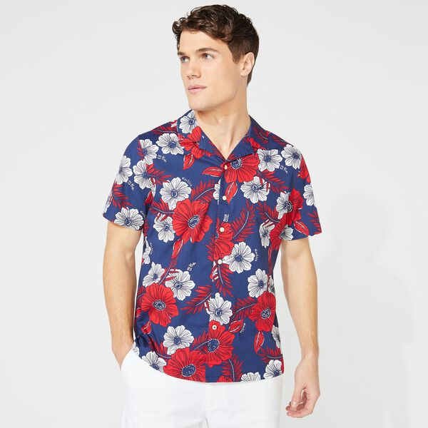 NAUTICA JEANS CO. FLORAL PRINT SHORT SLEEVE SHIRT - J Navy