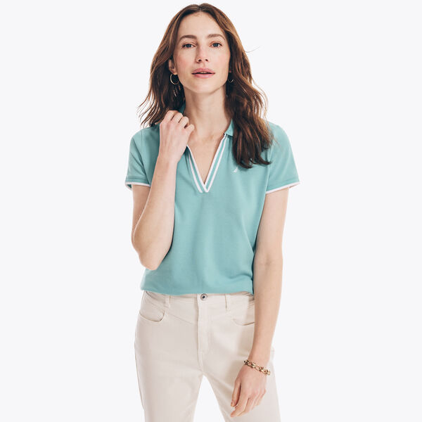 SUSTAINABLY CRAFTED OCEAN SPLIT-NECK POLO - Spearmint