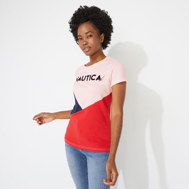 NAUTICA LOGO COLORBLOCK TEE,Fancytail Fuschia,large