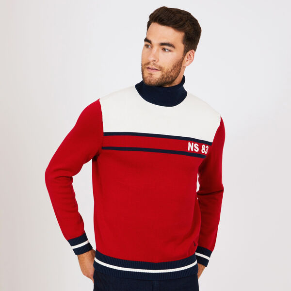 Colorblock Turtleneck Sweater - Nautica Red