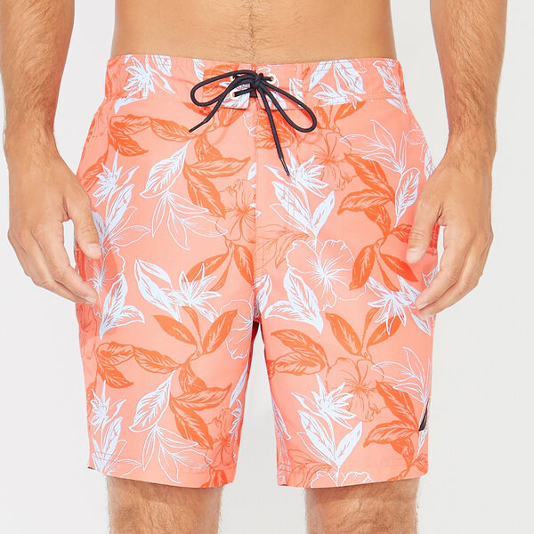 "8"" TONAL FLORAL SWIM TRUNKS - Livng Coral"