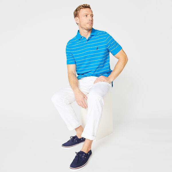 Classic Fit Mesh Polo in Breton Stripe - Capri Blue