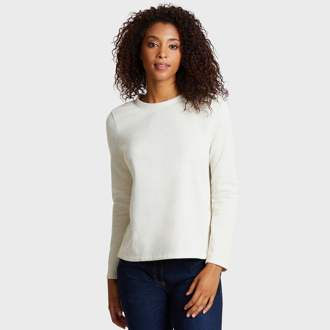 Long Sleeve Tie-Back Lurex Fleece Top,Tavern,large