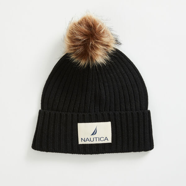 RIBBED-KNIT POM-POM BEANIE - True Black