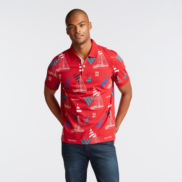 CLASSIC FIT PRINTED POLO IN GEO SAILING PRINT - Nautica Red