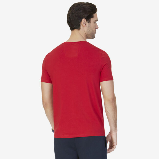 Solid V-Neck T-Shirt,Nautica Red,large