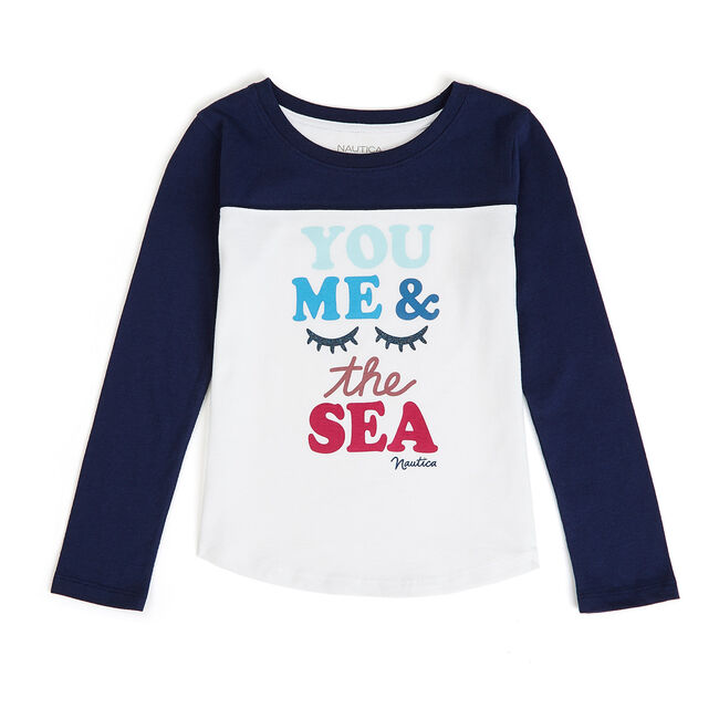 Little Girls' You Me And The Sea Graphic Tee (4-6X),Navy,large