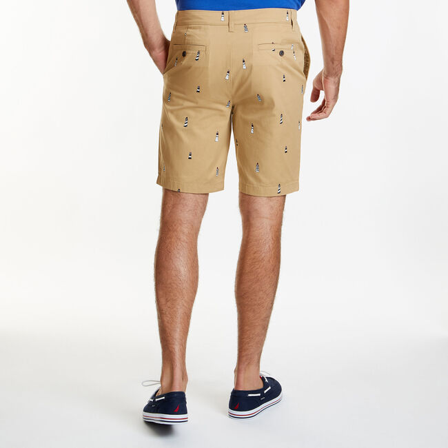 """Lighthouse Slim Fit Flat Front Shorts - 9.5"""" Inseam,Raw Umber,large"""