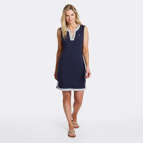 Palmetto Split-Neck Sheath Dress - Deep Sea