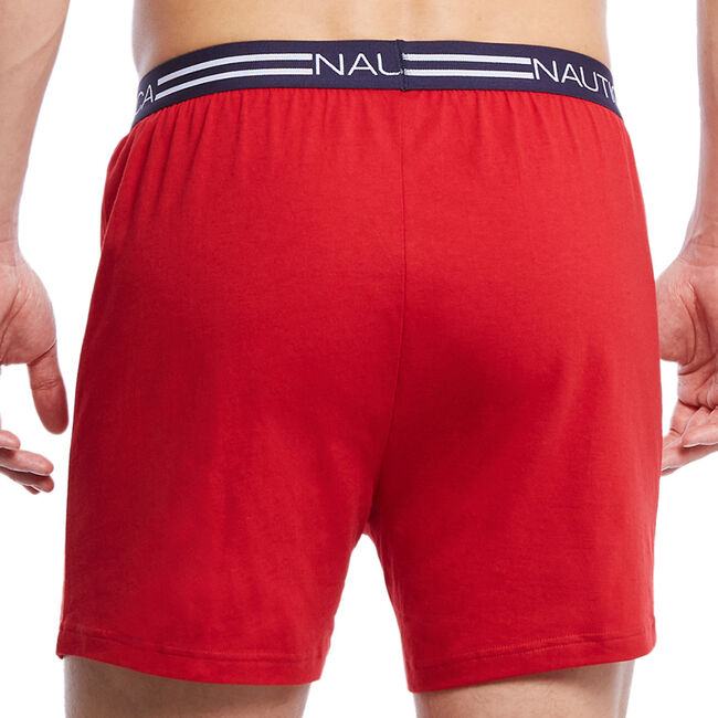 Red Solid Knit Boxers,Nautica Red,large