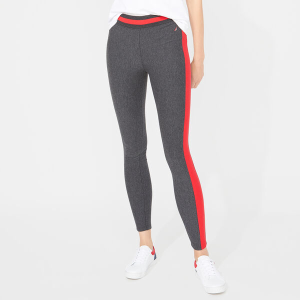 NAUTICA SIDE STRIPE KNIT LEGGINGS - Dark Black Heather