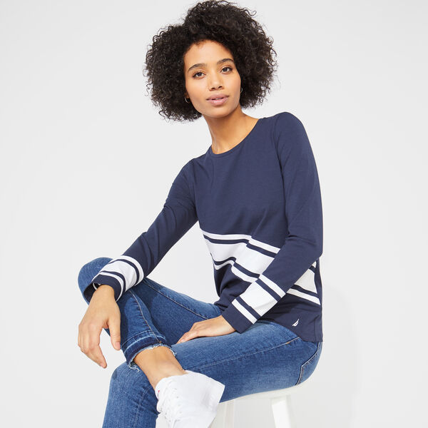 DIAGONAL STRIPE KNIT TOP - Stellar Blue Heather