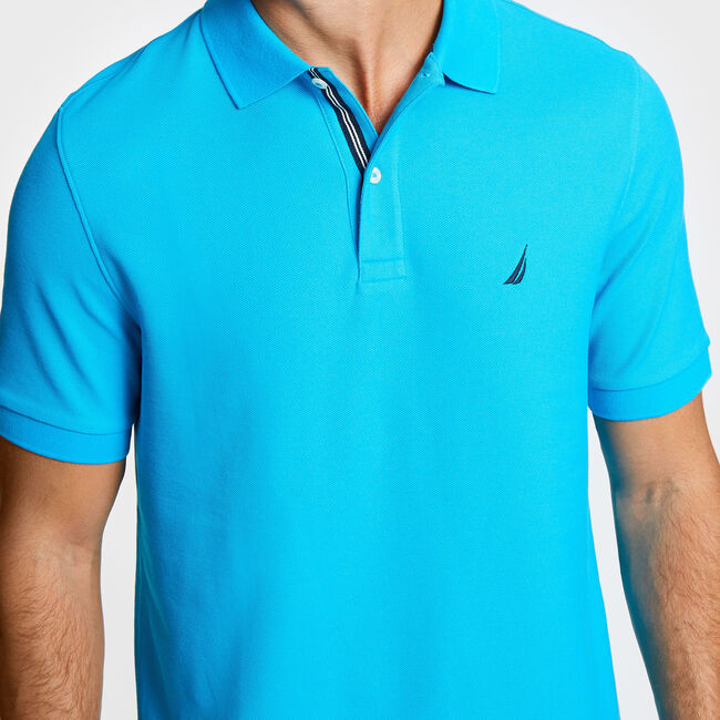 Solid Classic Fit Deck Polo Shirt,Bright Blue Jig,large