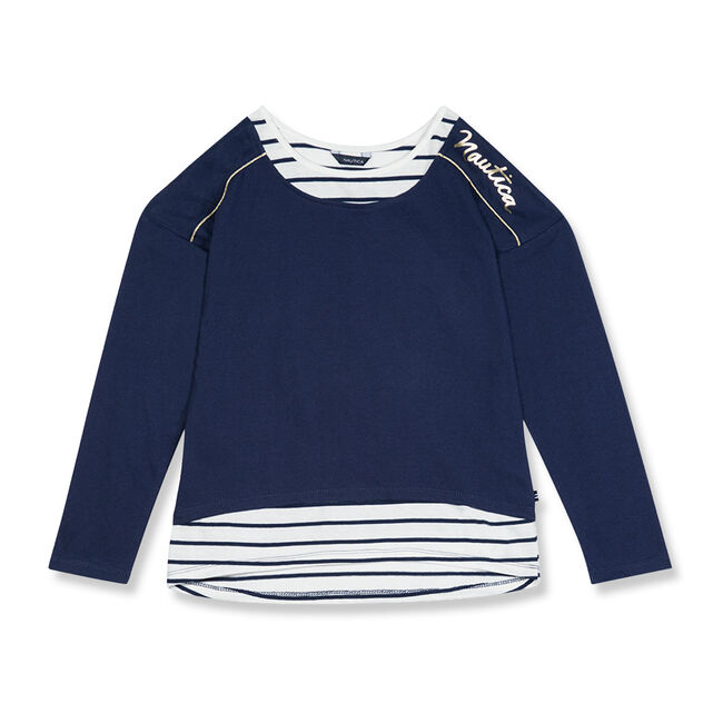 Girls' Metallic Logo Layered Top (7-16),Navy,large