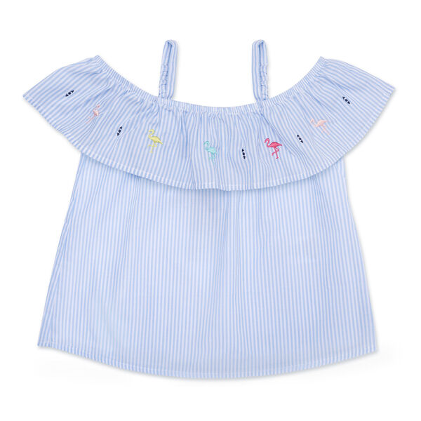 Little Girls' Striped Off-The-Shoulder Top (4-6X) - Tropic Wave