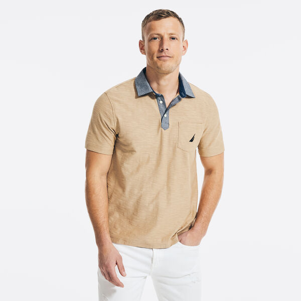 CLASSIC FIT CHAMBRAY COLLAR POLO - Tuscany Tan