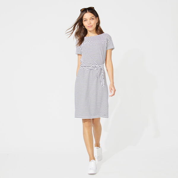 STRIPE TIE WAIST KNIT DRESS - Bright White