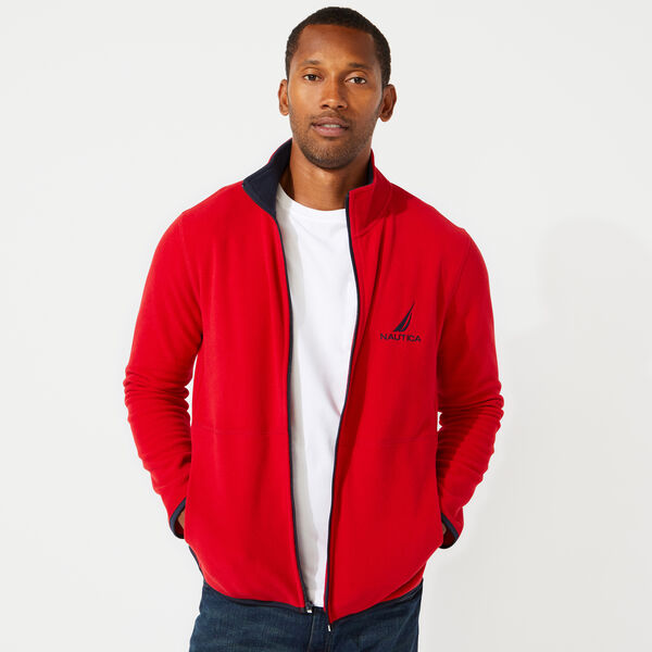 FULL ZIP NAUTEX FLEECE JACKET - Nautica Red