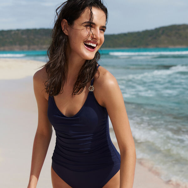 RUCHED J-CLASS ONE-PIECE SWIMSUIT - Coastline Turq
