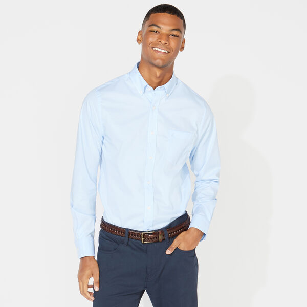 SLIM FIT WRINKLE RESISTANT SHIRT IN SOLID - Azure Blue